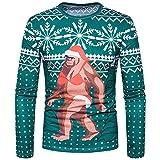 MRULIC Herren Pullover 2018 Casual Sweatshirt Weihnachten Socken Kostüm Gedruckt Urlaub Lustige Langarm T-Shirt Weihnachten Tops Party Shirt