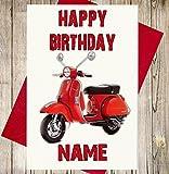 Vespa Scooter Personalisierte Geburtstagskarte–Jeder Name und Alter