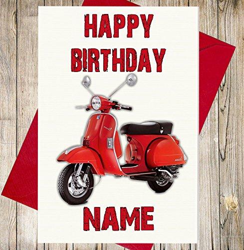 Geschenk-korb Geschenk-karte Mit (Vespa Scooter Personalisierte Geburtstagskarte–Jeder Name und Alter)