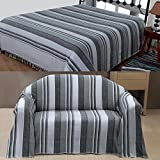 Homescapes Morocco Textured Stripe Throw 60 x 80 Inches Monochrome Grey Charcoal White Handmade 100% Cotton Suitable for most 2 Seater Sofas Single bedspreads Easy care washable at home