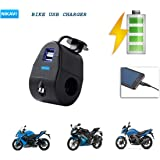 NIKAVI Waterproof Dual USB Port Mobile Charger with Handlebar Clamp Power Adapter for Motorcycle (Model 1)