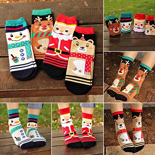 Yinew 4 Paar Mischfarbe Karikatur Socken Baumwolle Socken Strümpfe Weihnachten Socken
