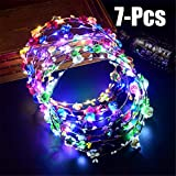 Funpa LED Flower Headband, 7Pcs Flower Garland Headband Flower Crown Headband for Women Girls Hair Accessories for Wedding Festival Birthday Party