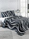 LaModaHome Bettwäsche-Set für Doppel- und Doppelzimmer, 65% Baumwolle, 35% Polyester, 100% Faser-Füllung, schwarzer Hintergrund, weißes Wellendesign, elegant, klassisch, Queensize-Bett