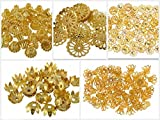 #7: Am Goelx Golden Fancy Flower Bead Caps Combo For Silk Thread Jewellery Making