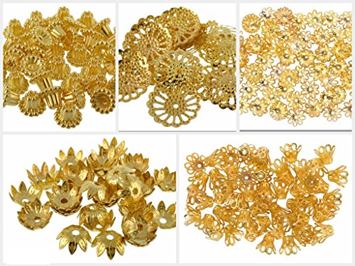 Goelx Golden Fancy Flower Bead Caps Combo For Silk Thread Jewellery Making