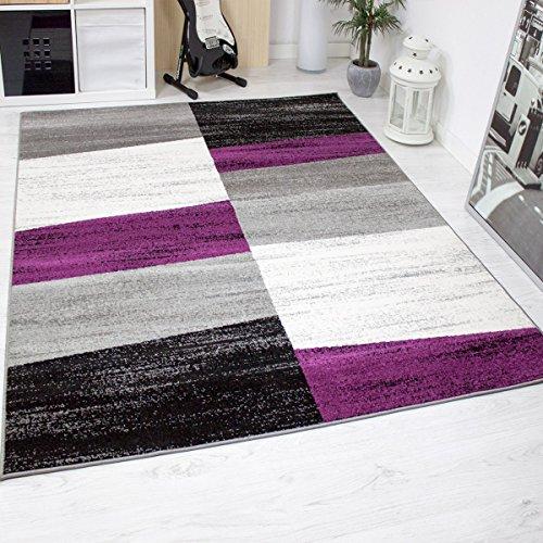 Alfombra de salón moderna jaspeada con dibujo geométrico en lila, gris, blanco y negro - Material certificado según ÖKO TEX, Maße:120 cm x 170 cm