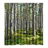 Straucher in Wald, Natur Landschaft Duschvorhang, Polyester Duschvorhang 167 cm x183 cm (66