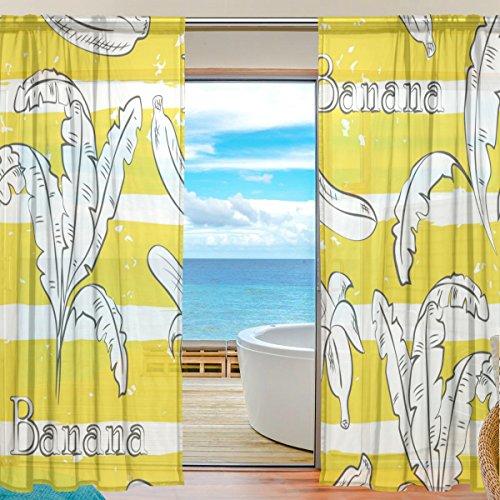 yibaihe Fenster Sheer Vorhänge Panels Gelb gestreift Banana Muster Fenster Behandlung Set Voile Drapes Tüll Vorhänge 213cm lang für Wohnzimmer Schlafzimmer Girl 's Room, 2Platten (Grau Gelb-vorhang-panels Und)