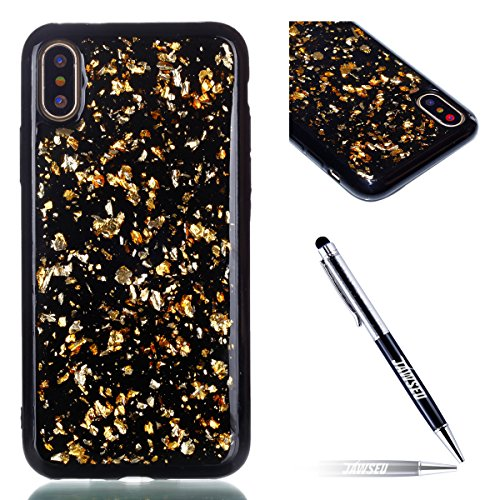 iPhone X Custodia, iPhone X Cover, iPhone X Custodia Silicone, JAWSEU Moda Stile Lusso Cristallo di Bling Brillante Sparkle Glitter Ultra Sottile Custodia per iPhone X Back Cover Case Flessibile Gomma Nero, Bling Oro