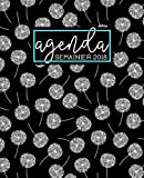 Agenda: 2018 Agenda semainier : 19x23cm : Motif pissenlit noir, blanc et bleu canard