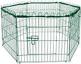 dobar 80596 6-eckiges Freilaufgehege, Kaninchengehege aus Metall mit Nylon Netz für draußen winterfest, 112 x 98 x 56 cm, grün