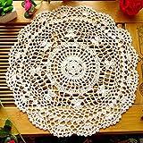 Danigrefinb Tischsets und Untersetzer, Vintage, Hohle Blume, handgehäkelte Spitze, rund, Tischuntersetzer, Beige