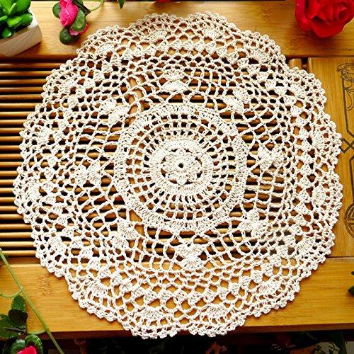 zmigrapddn Tischset, Vintage-Design, Baumwolle, hohles Blumenmuster, handgehäkelte Spitze, rund, Tischdeckchen, Dekoration beige