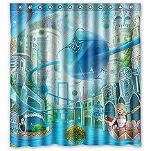"""zeng custom Tenda da doccia Poliestere impermeabile Barca a vela Ragazza Uccello volante Tende da bagno blu Accessori bagno 66""""x72"""""""