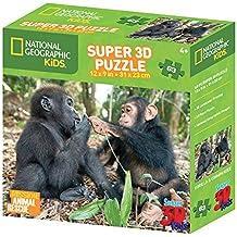 National Geographic NG13508 per bambini, Scimpanzé, Gorilla Super-Puzzle 3D, confezione da 160 pezzi