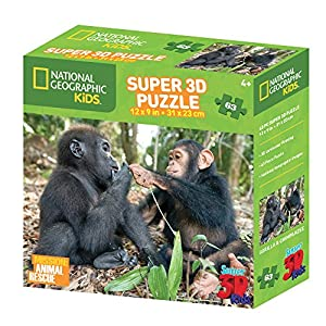 National Geographic ng13508 Kids Super Chimpancé y Gorilla 3D Puzzle ((63 Piezas))