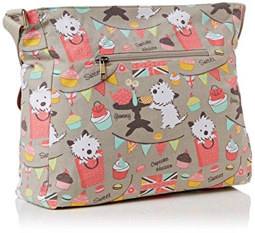 SwankySwans Biba Dog Cupcake Messenger Bag, Grey