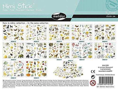 Maildor AE010O Packung mit 444 Stickers Mini Stick (ideal für Kinder ab 5 Jahren, 12 Blätter in Format DIN A5, 14,8 x 21 cm, Bauernhof) 12 Mini-sticks