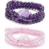 Jovivi - Bracciale con volpe, ametista, quarzo rosa, Buddha, yoga, 6 mm