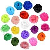 Anyasen pañuelos Colores 20 Piezas Malabares Danza Bufandas Bailar pequeño pañuelo Seda Bufandas de Danza Pañuelos de Colores