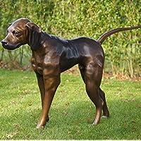 Bronzefigur großer, stehender Jagdhund