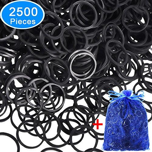 EAONE 2500 Pièces Elastique Caoutchouc Noir Cravates Mini Bandes Élastiques Douces avec Bleu Sac de Rangement, pour Femme/Fille