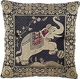 Schwarz und Golden Indische Banarasi Seide Deko Kissenbezüge 40 cm x 40 cm, Extravaganten Elefant Design für Sofa & Bett Dekokissen, Kissenhülle aus Indien. Angebot gültig solange der Vorrat reicht
