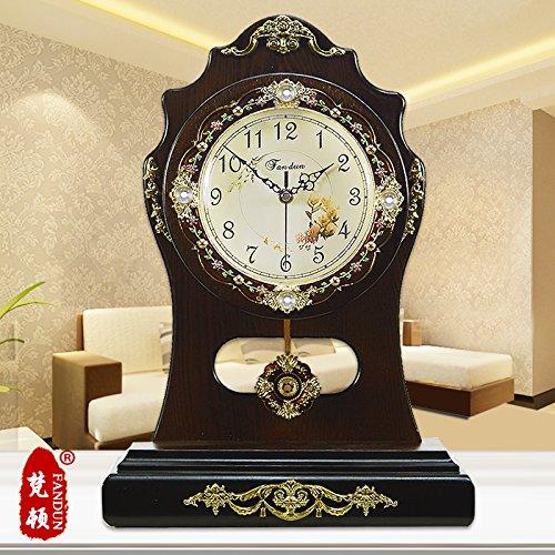 Wohnzimmer Schwingen (Europäische Clock Mode kreative pastorale Continental antiken Kingsize-Bett Wohnzimmer Silent Quarz Tischuhr Wecker, Kaffee Farbe Schwingen)