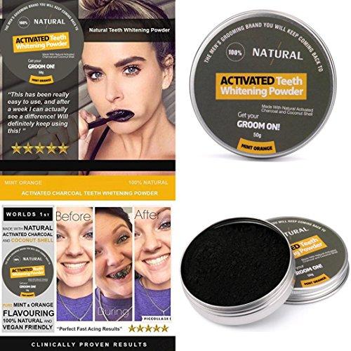 Preisvergleich Produktbild ESAILQ Natürliche organische Aktivkohle Zahn Zähne Whitening Powder Mint