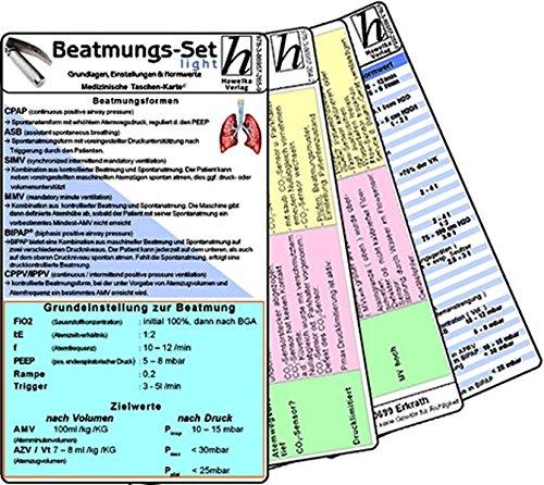 Beatmungs-Karten-Set - für Einsteiger - Bestehend aus: Beatmung - Grundlagen, Einstellungen & Normwerte; Beatmung - ... Behebung, Beatmung - Abkürzungen & Normwerte - Medizinische Taschen-Karte