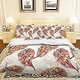 Bettwäsche-Set mit 3D-Motiv Federn 219, für Einzel- und King-Size-Betten und 3D-Foto-Bettwäsche, AJ Wallaper UK 7, rot