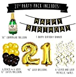 21st Birthday Party Pack – Black & Gold Happy Birthday Bunting, Poms, and Swirls Pack- Birthday Decorations - 21st Birthday Party Supplies