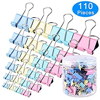 AUSTOR 110 Pcs Colored Binder Clips Foldback Clips Paper Clamp Clips Assorted 6 Sizes
