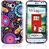 tinxi® Schutzhülle für LG L90 Hülle Schutz Silikon Rückschale Silicon Rück Schale Tasche Cover Case Etui Design bunte Qualle