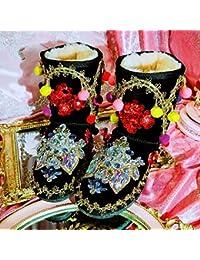 JUWOJIA Las Mujeres Botas De Nieve Cristales Flor Lentejuelas Borla Caliente Bolas De Peluche Calzado De Invierno,como Fotos,38