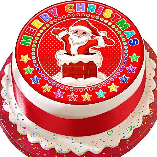 vorgeschnittenen 19,1cm Kuchen Topper Essbare Deko-silikonformkuchendekoration, Weihnachten Santa Kamin 1925 -