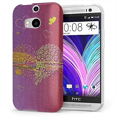 Amore 10016, Cuore, Cristallino Custodia Protettiva in Gel Silicone Caso Ultra Sottile Copertura con Disegno Strutturato per HTC One M8
