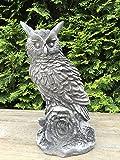Steinfigur Figur Skulptur Garten Deko Uhu Eule Kauz Vogel frostfest H 30cm 4,5kg