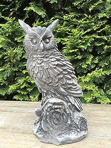 Steinfigur Figur Skulptur Garten Deko Uhu Eule Kauz Vogel frostfest