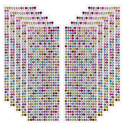 Edivoi Strasssteine - runde Glitzersteine 5040 Stück 5 mm selbstklebend zum Verzieren und Basteln | Schmucksteine zum aufkleben | Steinchen Dekosteine Bastelsteine (Multi)