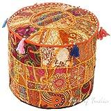 indien brodé Patchwork Ottoman Housse, traditionnel indien décoratif Pouf Ottoman, indien confortable Coussin de sol Coton Ottoman Pouf, modèles indiens ethniques Patchwork Pouf 45,7x 33cm (Orange)