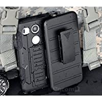LG Nexus 5X Funda, Cocomii Robot Armor NEW [Heavy Duty] Premium Belt Clip Holster Kickstand Shockproof Hard Bumper Shell [Military Defender] Full Body Dual Layer Rugged Cover Case Carcasa Google (Black)