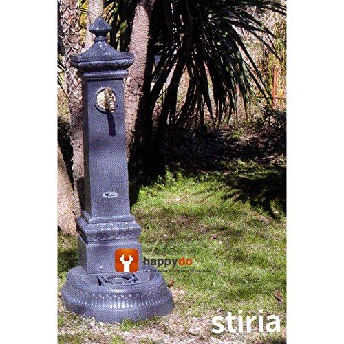 Fontana a colonna poseidone in ghisa verniciata 26kg 71cm con rubinetto e scarico acqua