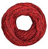 Intermoda Grobstrick Loop Schal Damen Herren Unisex Warm zweifarbig Rot Bordeaux Weinrot