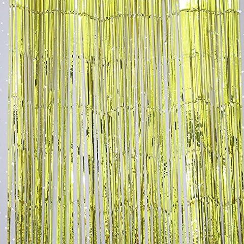Omeny Shiny Metallic Foil Fringe Porte Fenêtre Rideaux pour fête d'anniversaire Decora (Gold)