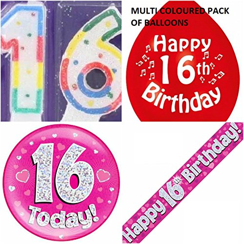 16. Geburtstag für Mädchen, mit 16Blumen-Set mit Banner, Ballons, Kerzen-Logo