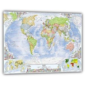 J.Bauer Karten Politische Weltkarte im Alurahmen, 100×70 cm, deutsch, Stand 2019