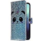 Uposao Cover Compatibile con Samsung Galaxy S10 Plus Custodia PU Pelle Libro Brillantini Glitter Portafoglio Lusso Flip Case Supporto Stand Magnetica Portafoglio Caso Interno TPU Cover,Panda