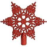 WeRChristmas - Adorno de estrella con brillantina para punta del árbol de Navidad (20 cm), color rojo